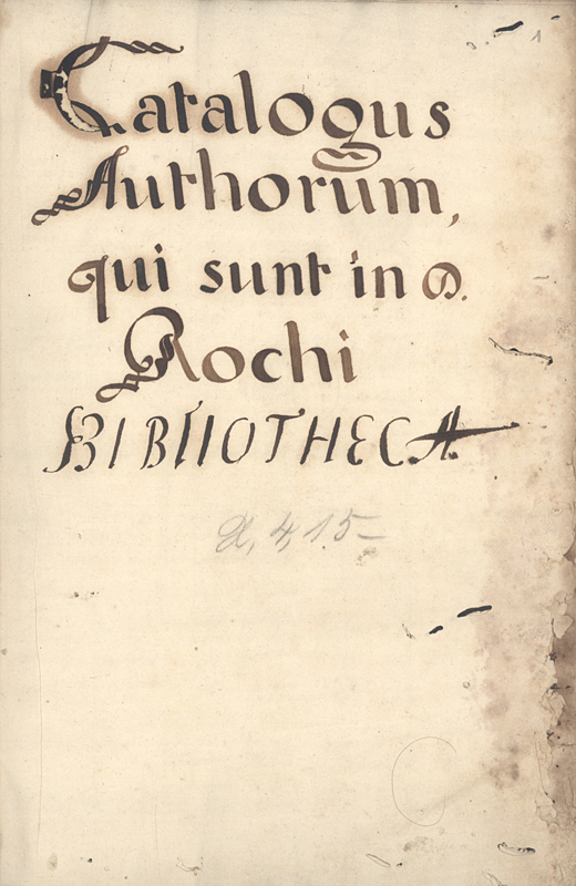 Capa de Catalogus Authorum, qui sunt in D. Rochi Bibliotheca